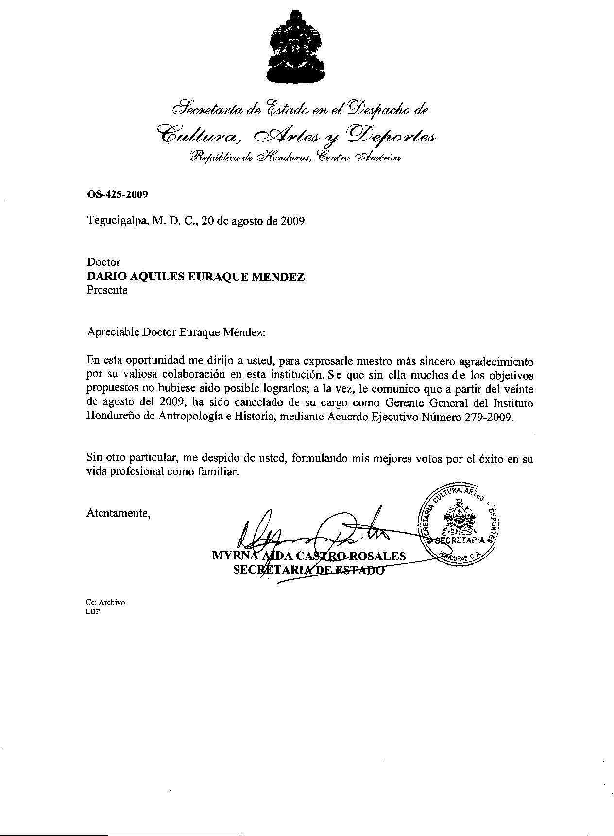 Destitución ilegal del Dr. Euraque