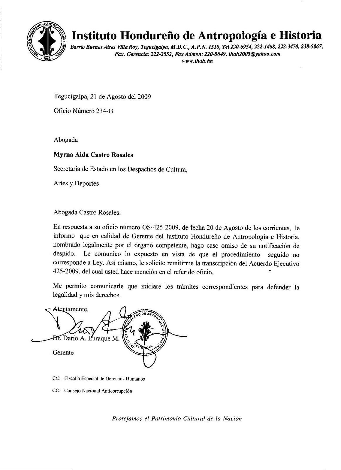 Respuesta del Dr. Euraque